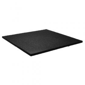 Dalle en caoutchouc pour salle de sport 100x100cm 15mm - Grain fin - Noir