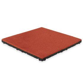 Dalle en caoutchouc avec couche supérieure en EPDM - 50 x 50 cm - 45 mm - Rouge (RAL 3016)