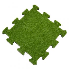 Rubber tegel met kunstgras toplaag - 50x50 cm - Puzzelsysteem