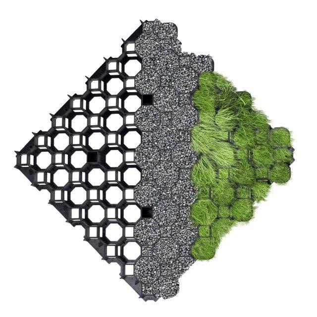 Dalle ML1 remplie de gravier et pelouse
